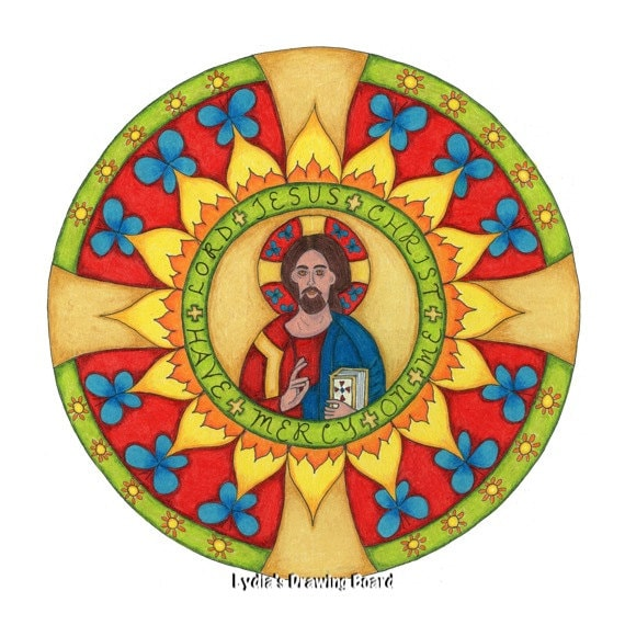 Religious Card, Jesus Art, Orthodox Icon, Spiritual Art, Christian Art, Mandala, Blank Cards with Envelopes, Christmas Cards, Sympathy Card