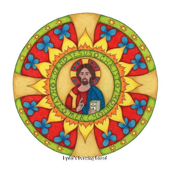 Religious Card, Jesus Art, Orthodox Icon, Spiritual Art, Christian Art, Mandala, Blank Cards with Envelopes, Christmas Cards, Sympathy Card