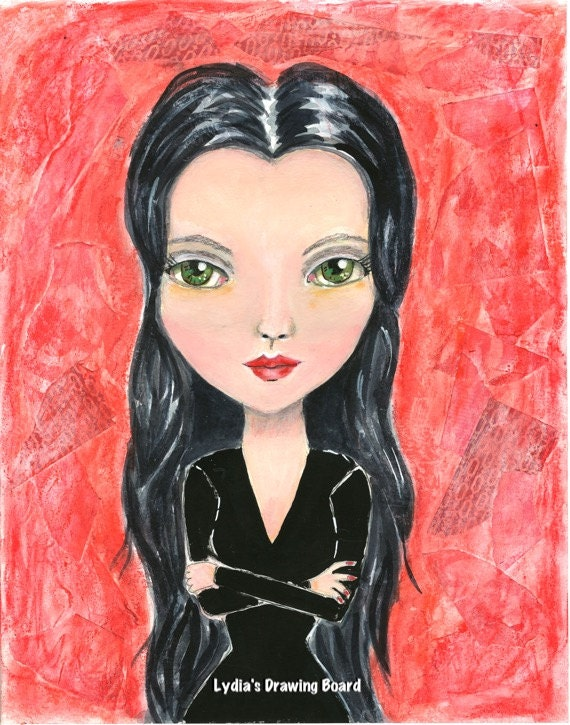 Morticia, Morticia Addams, The Addams Family, Addams Family, Girl Art, Mixed Media, Mixed Media Art, Gothic Art, Whimsical Art, Fan Art