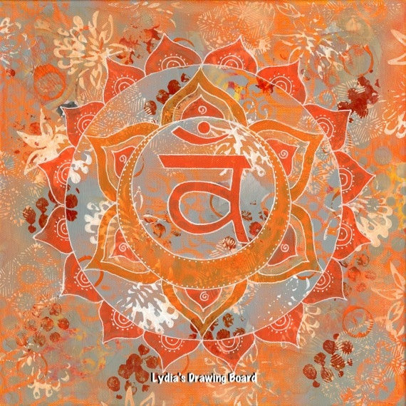 Sacral Chakra, Yoga Artwork, Chakras, Mandala Wall Art, Mixed Media Collage Art, Meditation Art, Yoga, Mandala Decor, Wall Art, Boho Decor