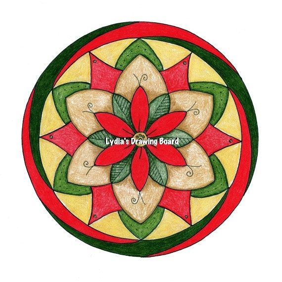 Note Cards, Notecards, Blank Cards, Christmas Cards, Cards, Mandala Art, Small Art, Mandala, Mandala Print, Poinsettia, Christmas, Holiday