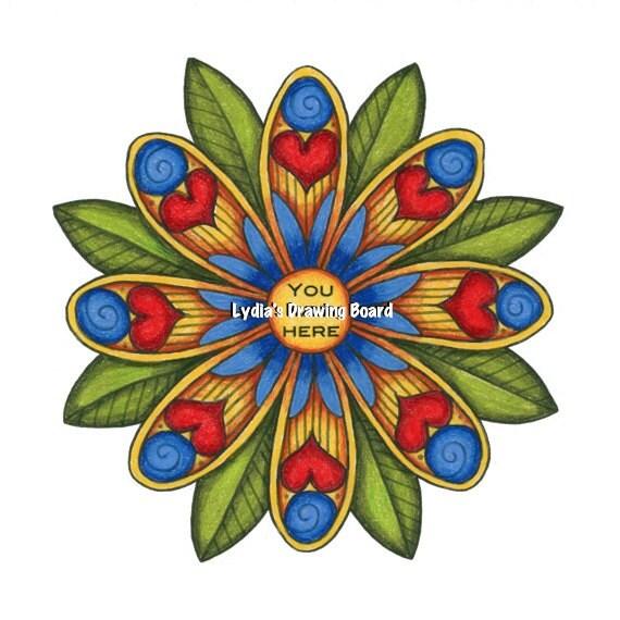 You Are Here, Mandala Art, Mandala Wall Art, Mandala Print, Mandala, Nature, Nature Art, Flowers, Flower Art, Floral Art, Heart, Heart Art