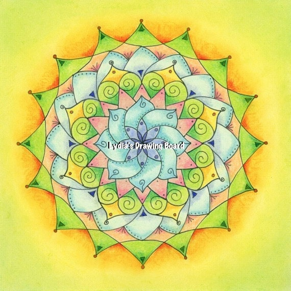 Mandala Art, Mandala Wall Art, Mandala Print, Meditation Art, Yoga Studio Decor, Pastel, Peaceful Art, Sacred Geometry Art, Yoga, Mandala