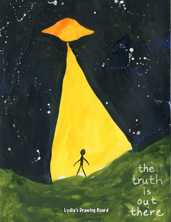 The Truth is Out There, The X Files, X Files, Flying Saucer, Alien, Sci Fi Art, Fan Art, Sci Fi, Whimsical Art, Fox Mulder, Mulder Scully