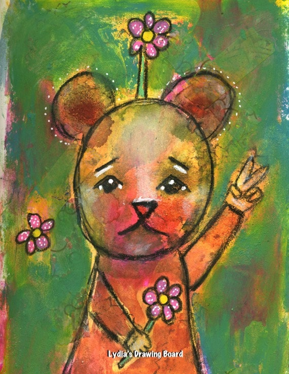 Bear, Bear Art, Bear Art Print, Peace, Whimsical Art, Mixed Media Art, Mixed Media, Kids Room Decor, Animal Art Print, Hippie Decor