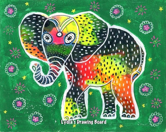 Elephant, Elephant Art Print, Elephant Artwork, Mexican Art, Mexican Folk Art, Animal Art, Animal Artwork, Animal Art Print, Elefante