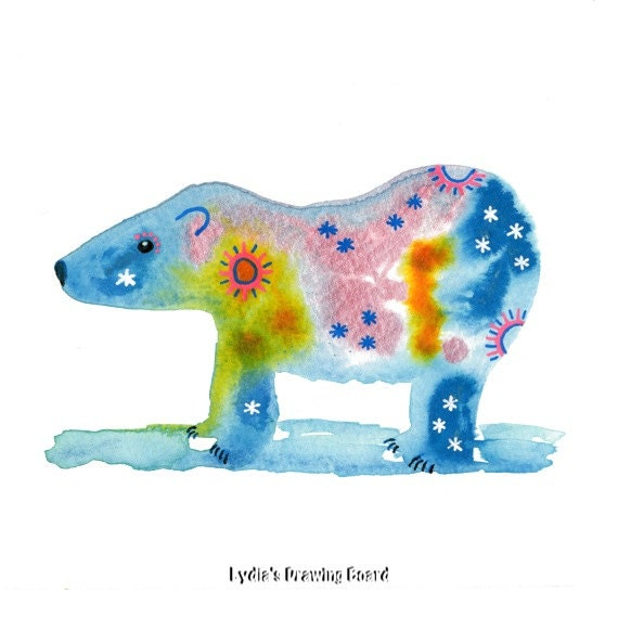 Bear Art, Bear Art Print, Animal Art, Animal Artwork, Animal Art Print,Animal Art Nursery, Kids Room Art, Spirit Animal, Polar Bear Art