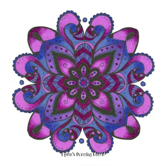 Note Cards, Notecards, Blank Cards, Birthday Card, Purple Art, Cards, Spiritual, Mandala Art, Small Art, Floral Art, Mandala Print