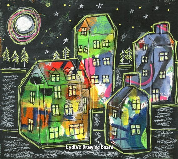 Original Art, Original Painting, Mixed Media Art, Art on Paper, Intuitive Art,  Painting, Moon Art, Paper Painting, Mystical Art, Houses
