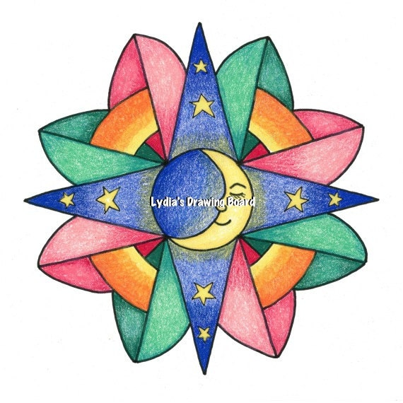 Mandala, Mandala Art, Mandala Wall Art, Mandala Print, Man in the Moon, Moon, Moon Art, Colorful Art, Peaceful Art, Lunar, , Nursery Decor