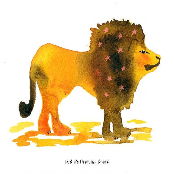 Cecil the Lion, Cecil, Lion Art, Lion Artwork, Endangered Species, Animal Art, Animal Artwork, Note Cards, Notecards, Blank Cards,Lion Card