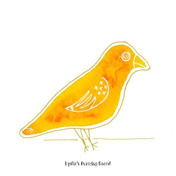 Note Cards, Notecards, Blank Cards, Birthday Card, Thank You Cards, Yellow Bird, Canary, Cards, Bird Cards, Bird Art, Mid Century Modern Art