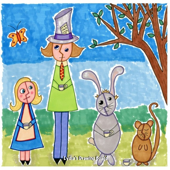 Note Cards, Notecards, Blank Cards, Whimsical Art, Alice in Wonderland, Mad Tea Party, Mad Hatter, March Hare, Tea Party, Invitations, Art