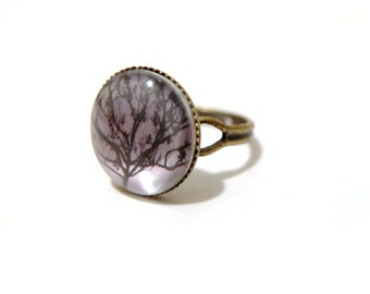 5a5eefd10702 Willow Tree Ring, Tree Ring, Glass Dome Ring, Adjustable Ring, Nature Ring,  Woodland Ring, Print Ring, Photo Ring, Index Finger Ring