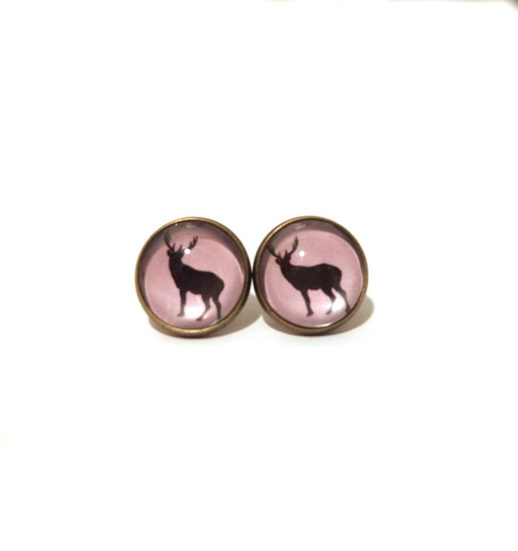 Stud Earring Pair with Cabochon Picture Chihuahua dog bronze different sizes
