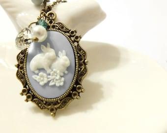 Bunny Necklace, Rabbit Necklace, Blue Necklace, Cameo Necklace , Cabochon Necklace, Vintage Necklace, Bunny Charm Necklace, Bunny Jewelry