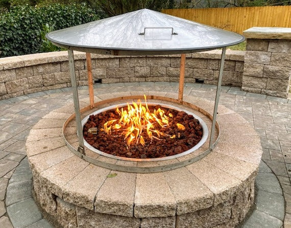 37 Dia Fire Pit Heat Deflector Stainless Steel Fire Etsy