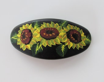 Painted Sunflower Hair Clip Floral Hair Slip Sunflowers Blue Oval Hand-Painted Hair Barrette Flowered Hair Accessory French Style Clip