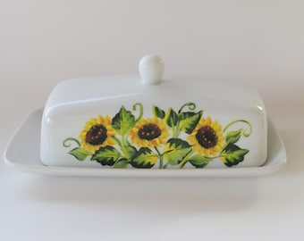 Sunflower Butter Dish, White Porcelain Hand-painted with Handle, Yellow Sun Flowers Painted Butter Serving Dish, Decorative Butter Container