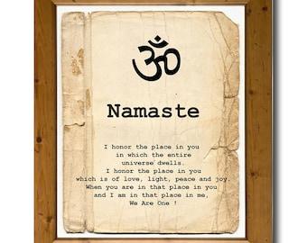 Namaste Om Yoga poster, Yoga room decor, Yoga teacher gift, Instant Download Digital print, Yoga art print, Printable art, Sepia art print