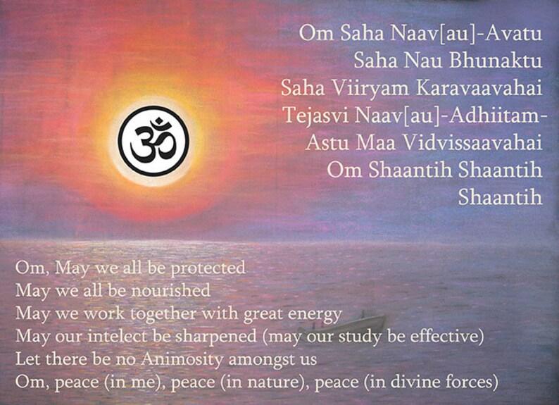 ae589556c68d OM Shanti Mantra cartel Sahana Vavatu Yoga arte de impresión