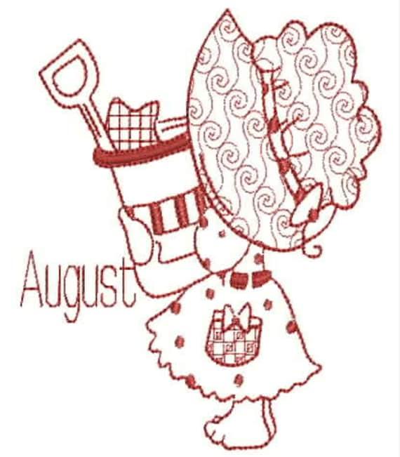 Sunbonnet Calendar Redwork Embroidery Design Set Machine Etsy