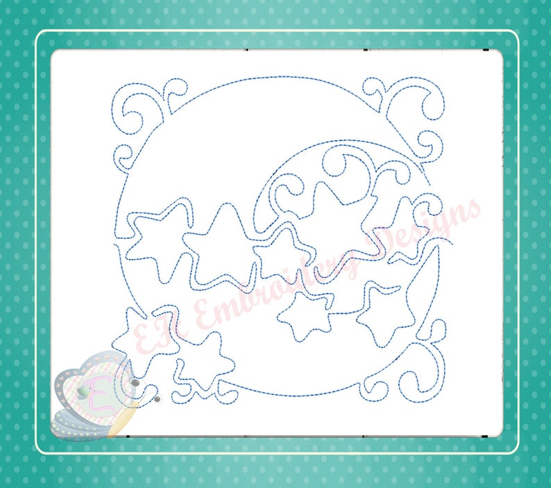 Moon Stars Nursery Continuous Line Quilt Machine Embroidery Etsy