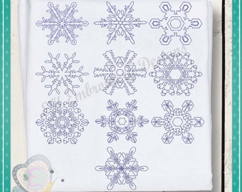 Snowflake Line Quilt Christmas Holiday 4x4, 5x5, and 6x6 inches  digital download seperate files snowflake Machine Embroidery Design