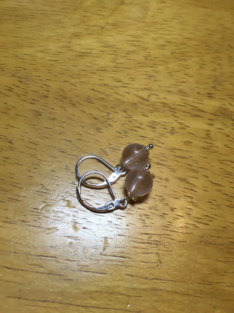 Natural Round 8mm Rose quartz Earrings With Sterling silver Lever Back