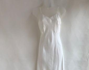 Vintage 1980s Winter White Bias Cut Slip Dress by Stardust Size 34
