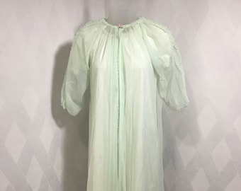 Vintage 1960s Mint Green 2 Piece Robe and Nightgown with Pink Rosettes by Shirley, Peignoir Set