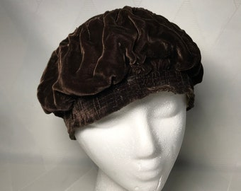 Antique 1917 to 1920s Brown Velvet Effeness Hat Armistice Flapper Era Soft Cap Slouch Hat
