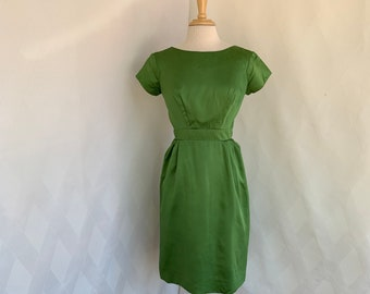 a9232b1787be Vintage 1950s Grass Green Bombshell Dress, Wiggle Dress, Cocktail Dress