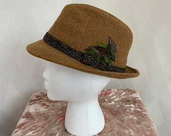 44e5df2c2368b Vintage 1960s Mustard Brown Tweed Fedora with Brown and Green Feathers Size  Medium
