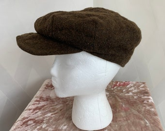 Vintage 1930s 40s Brown Wool Newsboy Cap with Ear Flaps 78cbac4ebaac