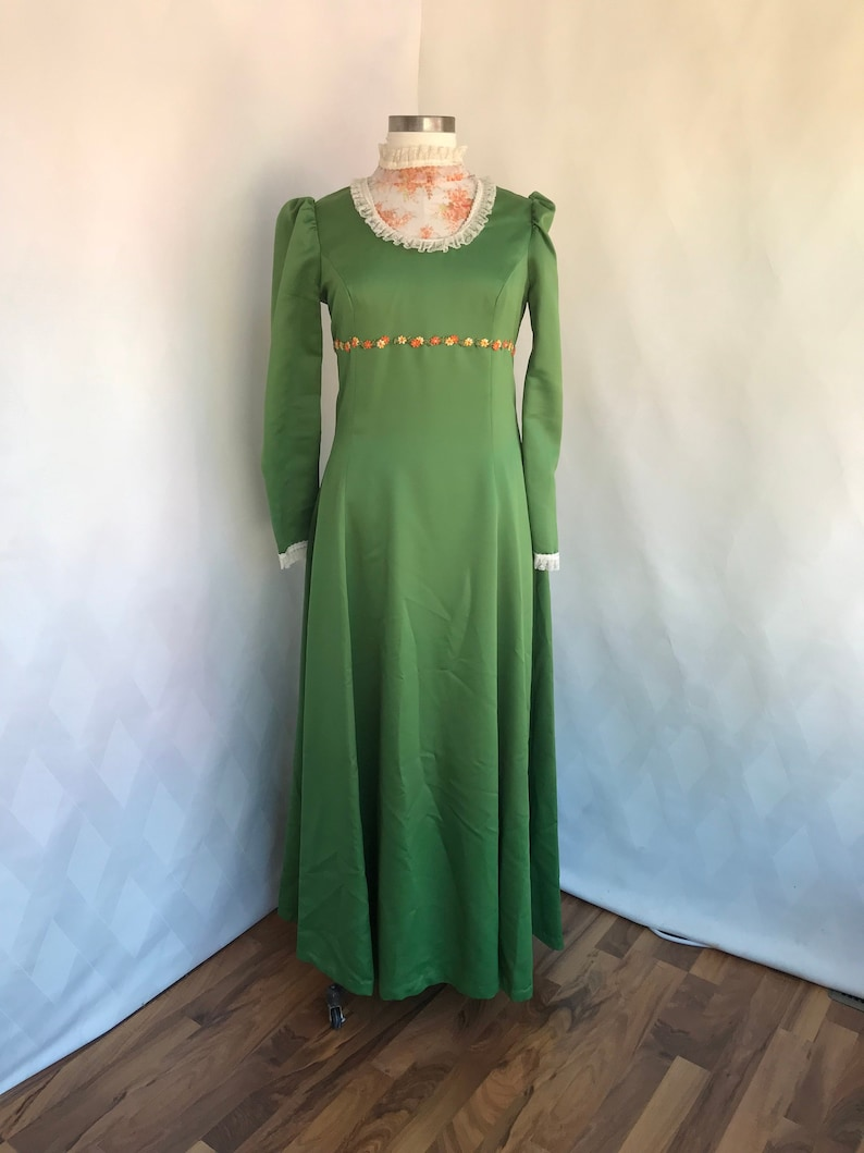 a4fd50097a0 Vintage 1970s Handmade Olive Green Satin Bridesmaid Dress with