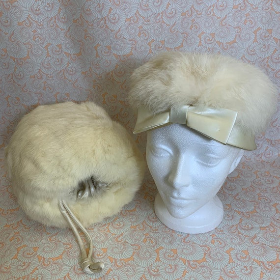 Vintage 1960s Cream Fur and Satin Pillbox Hat and