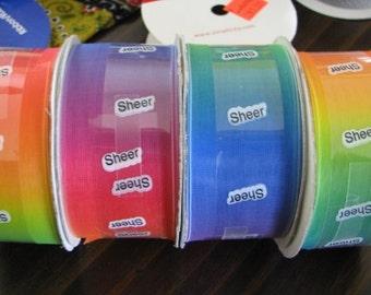 "Rainbow Ribbon Wide 1 1/2"" wide x 18 feet Last one!"