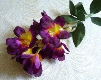 Purple silk flowers etsy vintage millinery plum purple silk flower spray rhododendron blossom branch nos for weddings bridal bouquets hats head bands craft 3fv0148au mightylinksfo