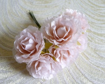 Blush pink flowers etsy small blush pink flowers carnations bunch of 6 roses blossoms for hats fascinators floral crowns crafts mightylinksfo