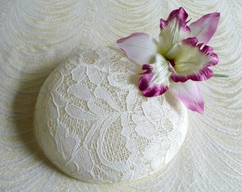 Ivory Fascinator Base DIY Millinery Lace Covered Sinamay Round Hat Form