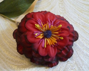 Vintage Millinery Flower Dark Red Shaded Silk Zinnia NOS Germany for Hats Fascinators Floral Arrangements Crafts 4FV0142R
