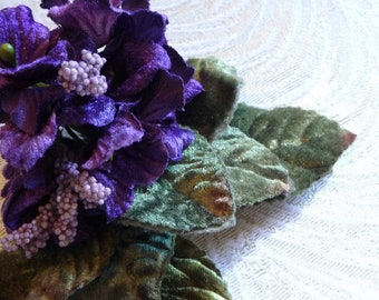 Velvet Flowers Millinery Primrose Bouquet Wine Purple for Hats Crafts Weddings 3FN0097PU