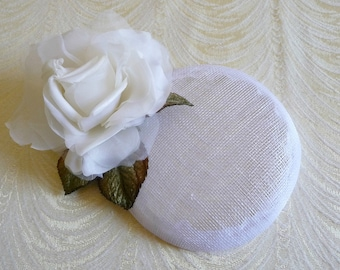 White Fascinator Base Sinamay Smartie Pillbox Button Style for Hats DIY Millinery