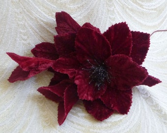 Velvet Blossom Millinery Flower with Buds and Leaves Rich Wine Burgundy for Hats Headbands Fascinators Corsage Brooch S235