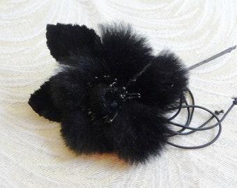 Black Faux Fur Millinery Flower with Velvet Leaves for Hats, Fascinators, Brooch S237