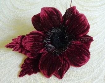 Velvet Blossom Millinery Flower Leaves Rich Wine Burgundy for Hats Headbands Fascinators Corsage Brooch S240