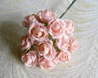 ROSEBUD millinery Vintage style 6 silk LIGHT PINK roses DOLL HATS  /& crafts