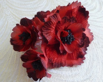 Handmade Millinery Flowers Red Shaded Velvet and Silk Blossoms for Hats, Fascinators, Gowns, Costumes