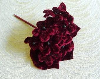 Burgundy Velvet Violets Millinery Flowers with Leaves for Hats Crafts Dolls S238